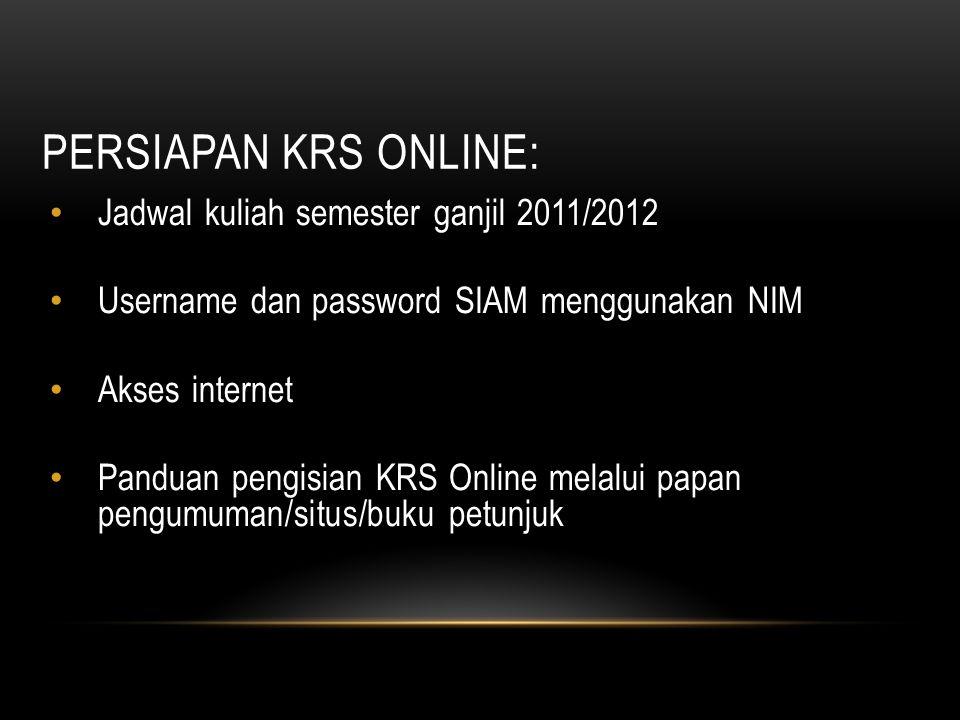 Persiapan KRS Online: Jadwal kuliah semester ganjil 2011/2012