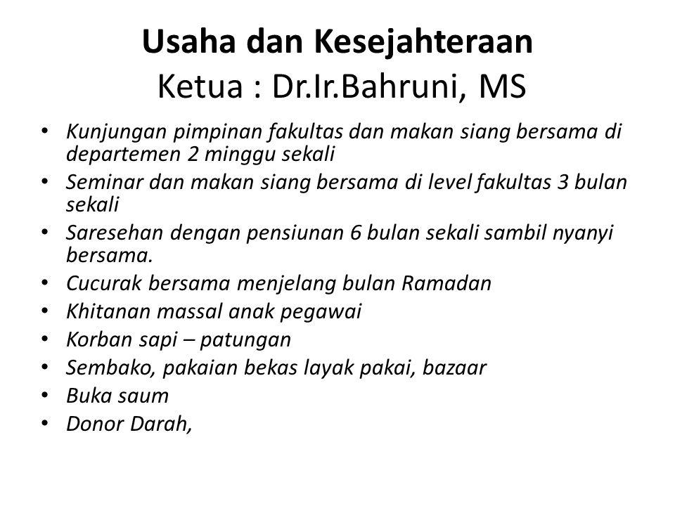 Usaha dan Kesejahteraan Ketua : Dr.Ir.Bahruni, MS