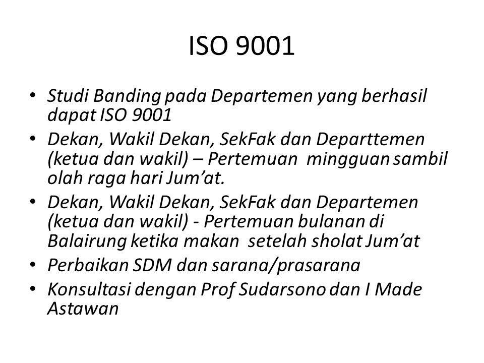 ISO 9001 Studi Banding pada Departemen yang berhasil dapat ISO 9001