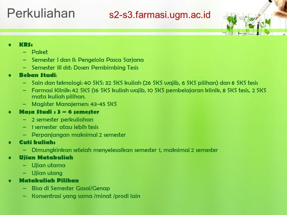 Perkuliahan s2-s3.farmasi.ugm.ac.id KRS: Paket