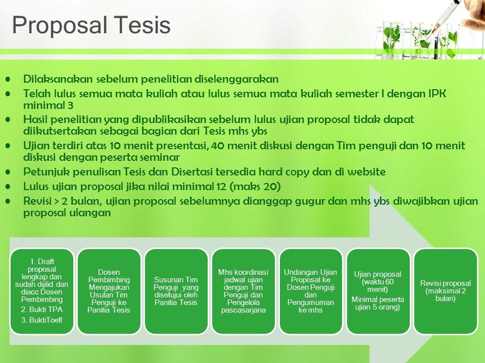 Proposal Tesis Dilaksanakan sebelum penelitian diselenggarakan