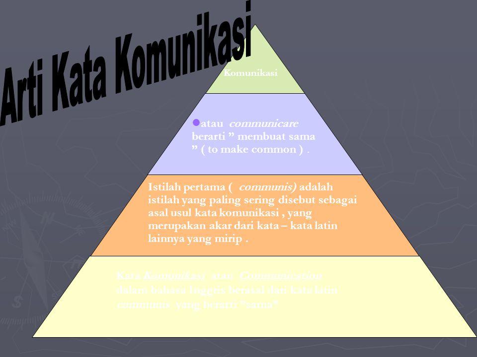 Arti Kata Komunikasi Komunikasi. atau communicare berarti membuat sama ( to make common ) .