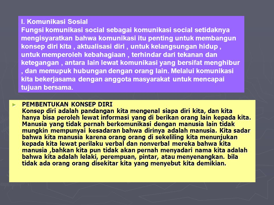 I. Komunikasi Sosial