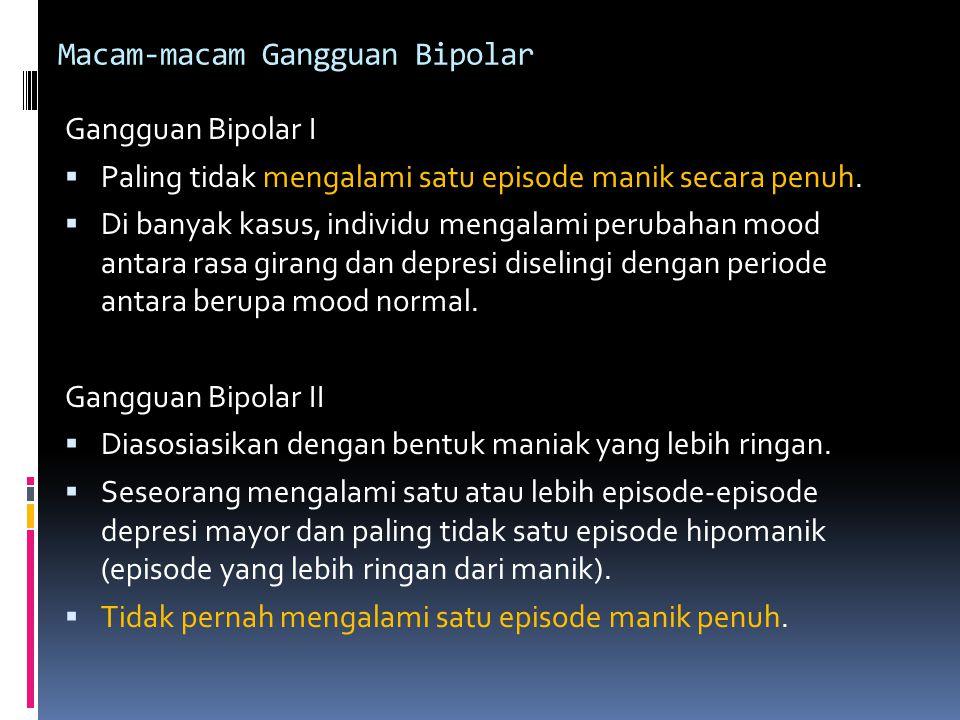 Macam-macam Gangguan Bipolar