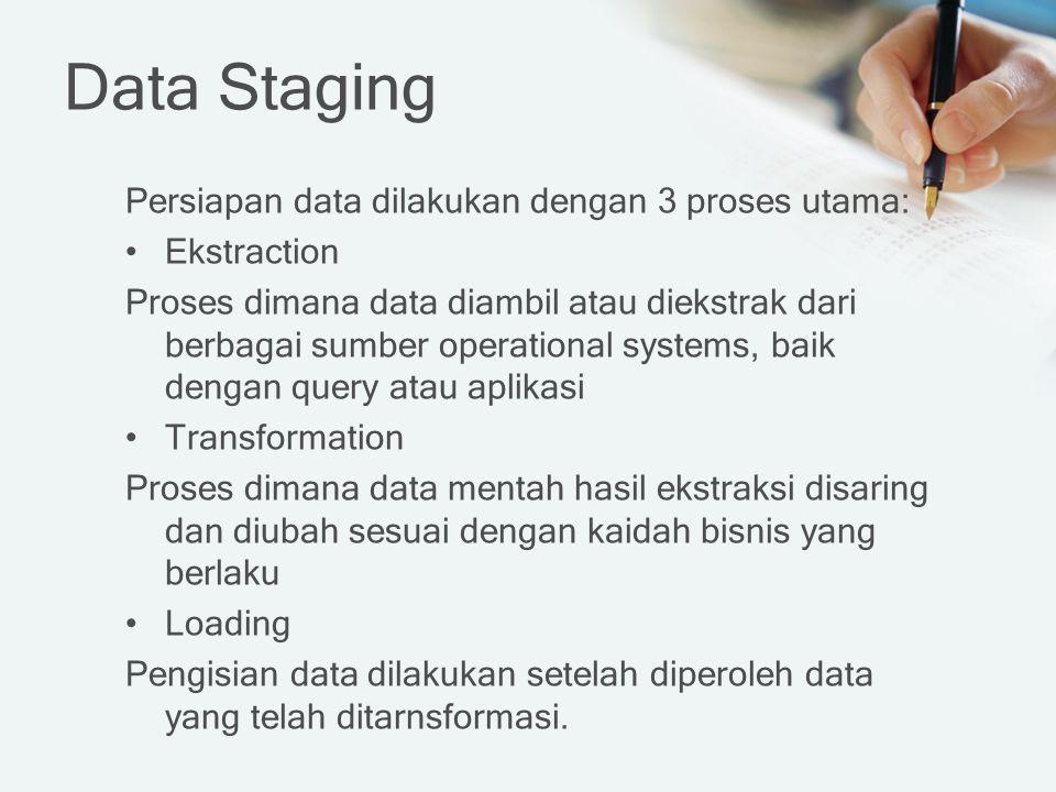 Data Staging Persiapan data dilakukan dengan 3 proses utama: