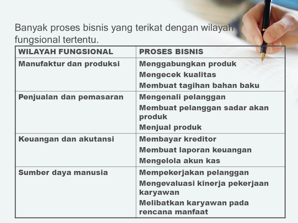 Banyak proses bisnis yang terikat dengan wilayah fungsional tertentu.