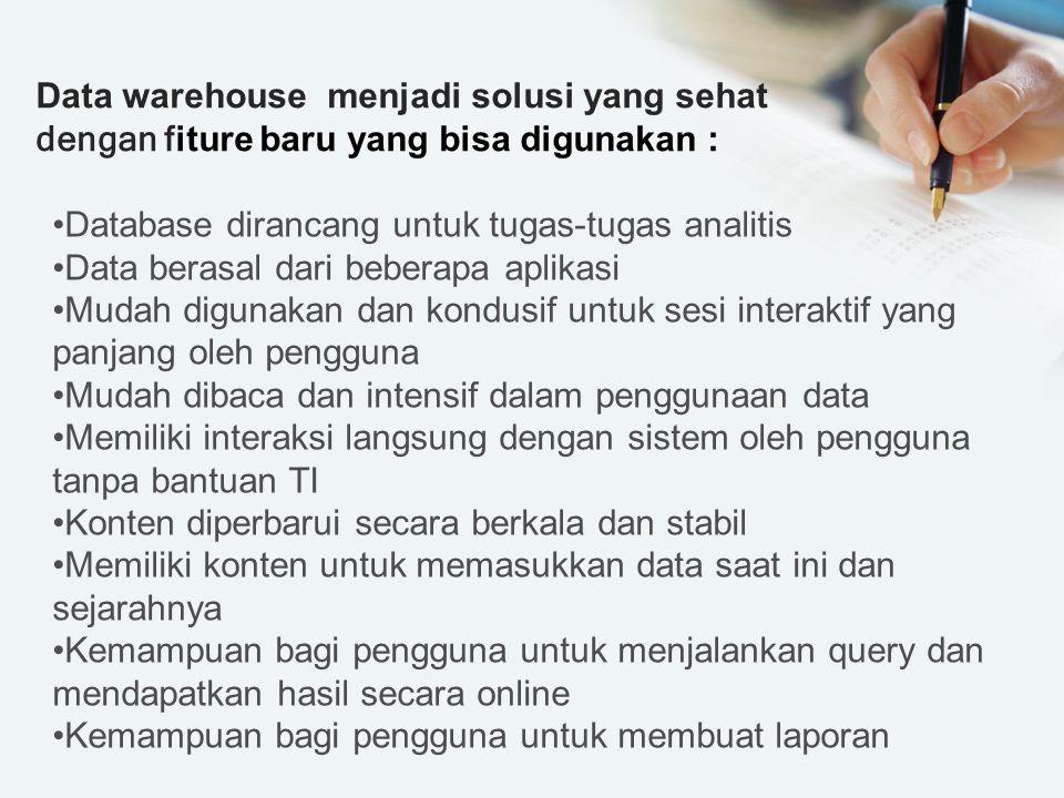 Data warehouse menjadi solusi yang sehat dengan fiture baru yang bisa digunakan :