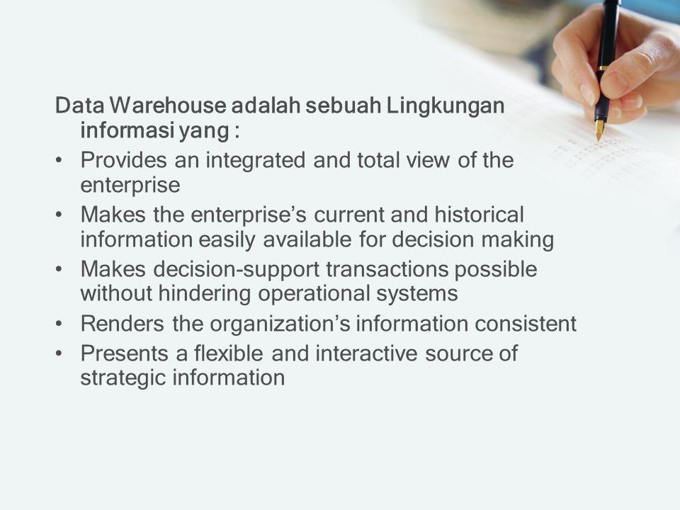 Data Warehouse adalah sebuah Lingkungan informasi yang :