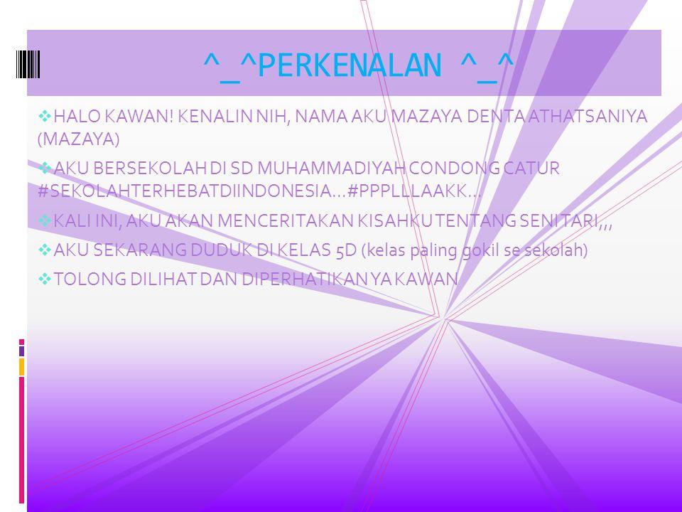 ^_^PERKENALAN ^_^ HALO KAWAN! KENALIN NIH, NAMA AKU MAZAYA DENTA ATHATSANIYA (MAZAYA)