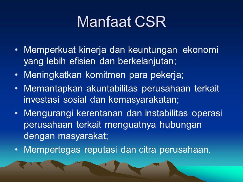 Manfaat CSR Memperkuat kinerja dan keuntungan ekonomi yang lebih efisien dan berkelanjutan; Meningkatkan komitmen para pekerja;