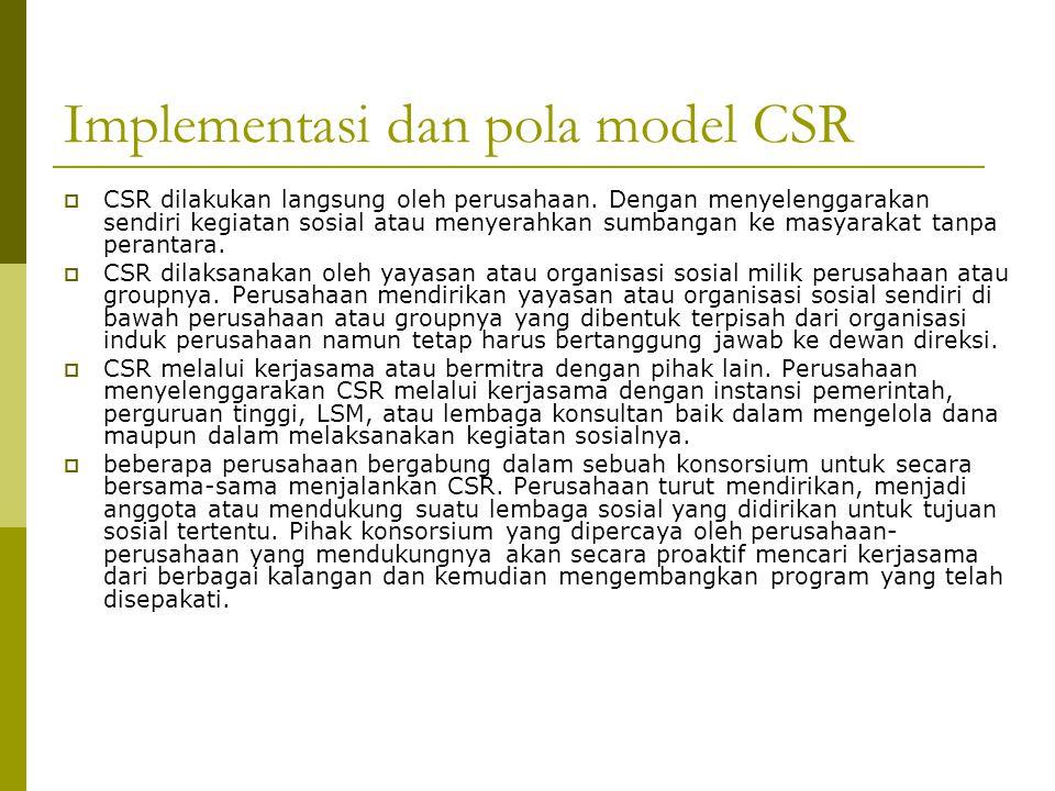 Implementasi dan pola model CSR