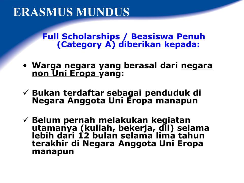 Full Scholarships / Beasiswa Penuh (Category A) diberikan kepada: