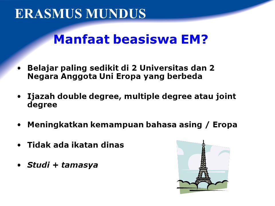ERASMUS MUNDUS Manfaat beasiswa EM