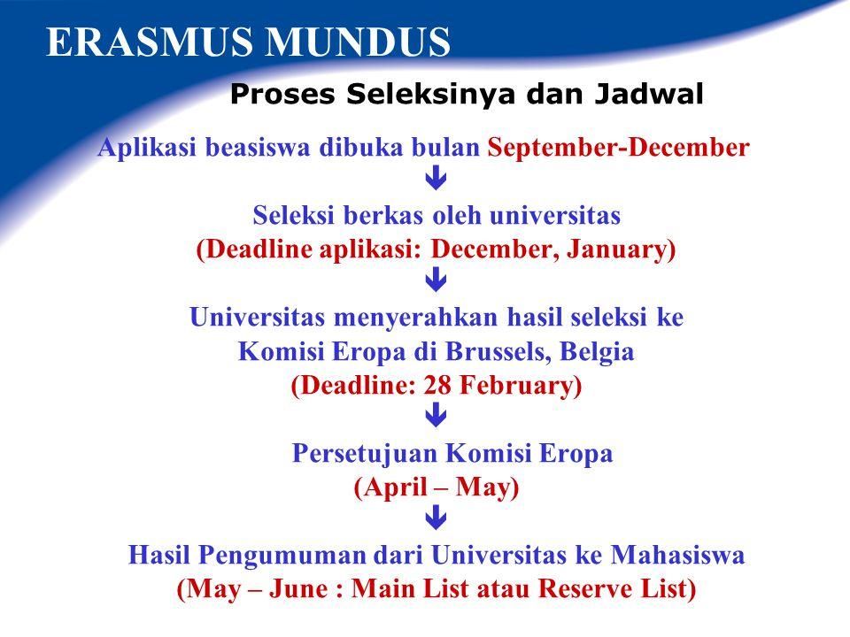 ERASMUS MUNDUS Proses Seleksinya dan Jadwal