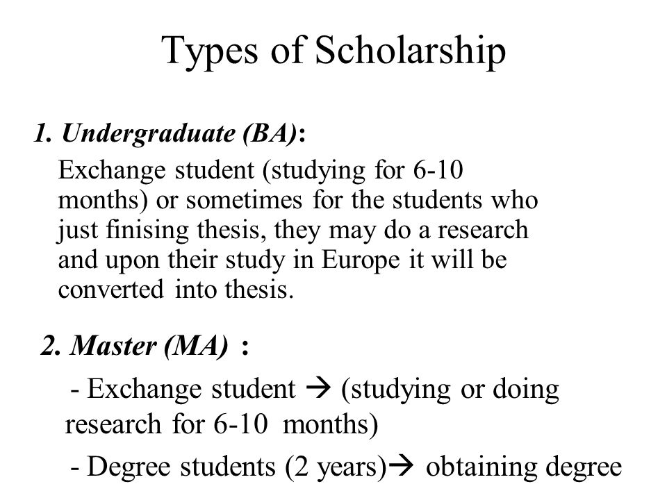 Types of Scholarship 1. Undergraduate (BA):