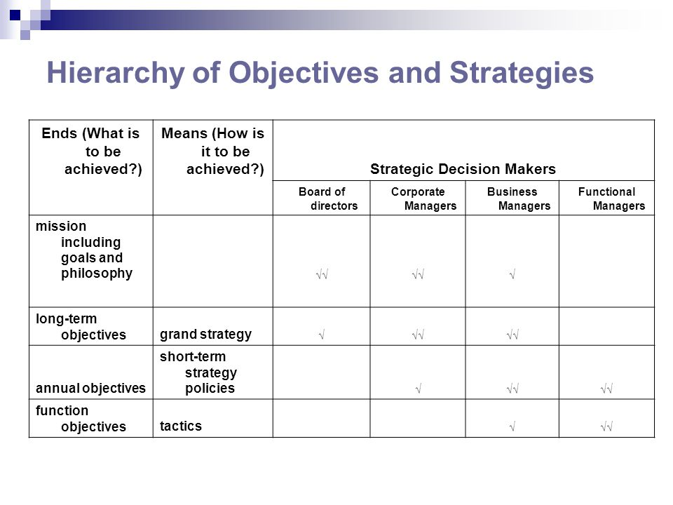 Hierarchy of Objectives and Strategies