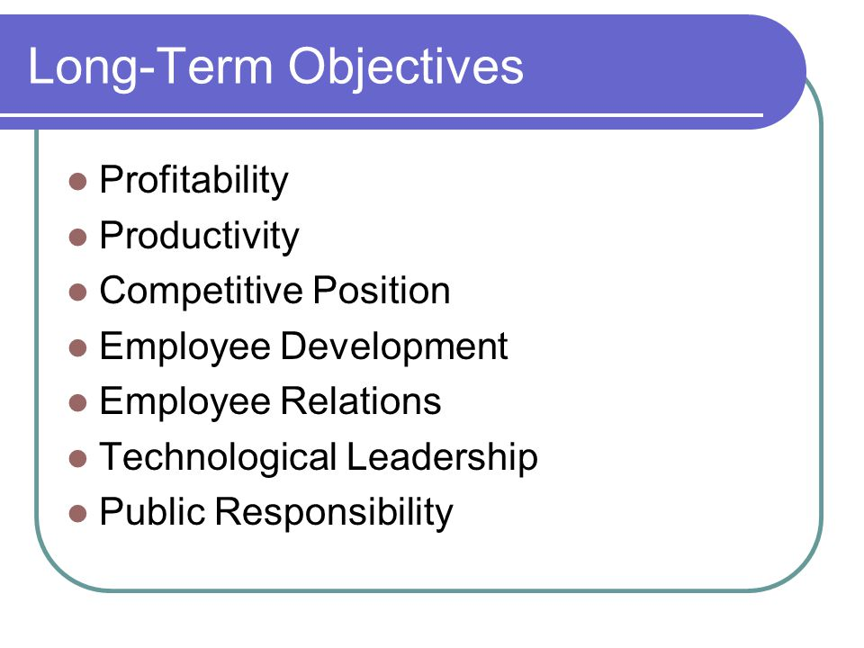 Long-Term Objectives Profitability Productivity Competitive Position