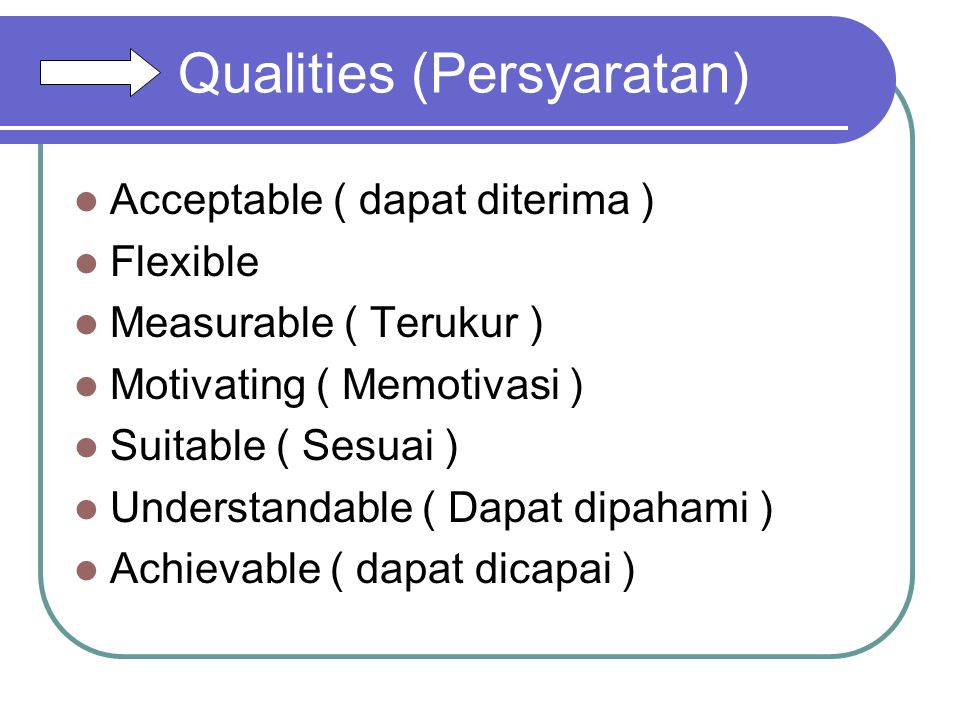 Qualities (Persyaratan)