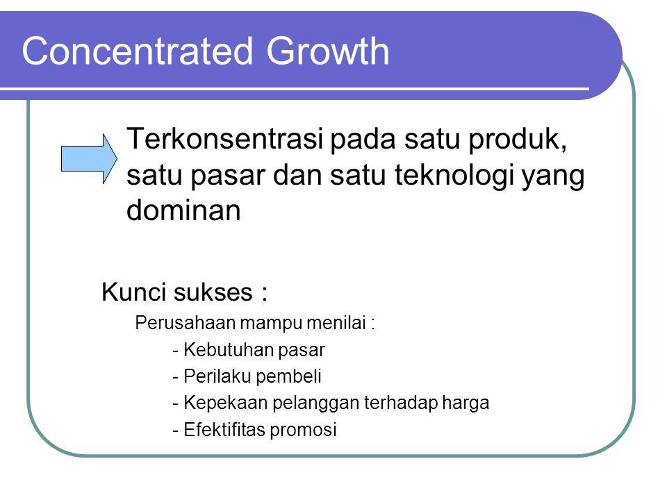 Concentrated Growth Terkonsentrasi pada satu produk, satu pasar dan satu teknologi yang dominan. Kunci sukses :