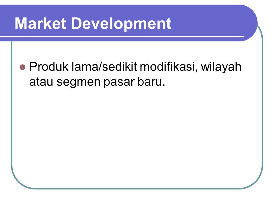 Market Development Produk lama/sedikit modifikasi, wilayah atau segmen pasar baru.