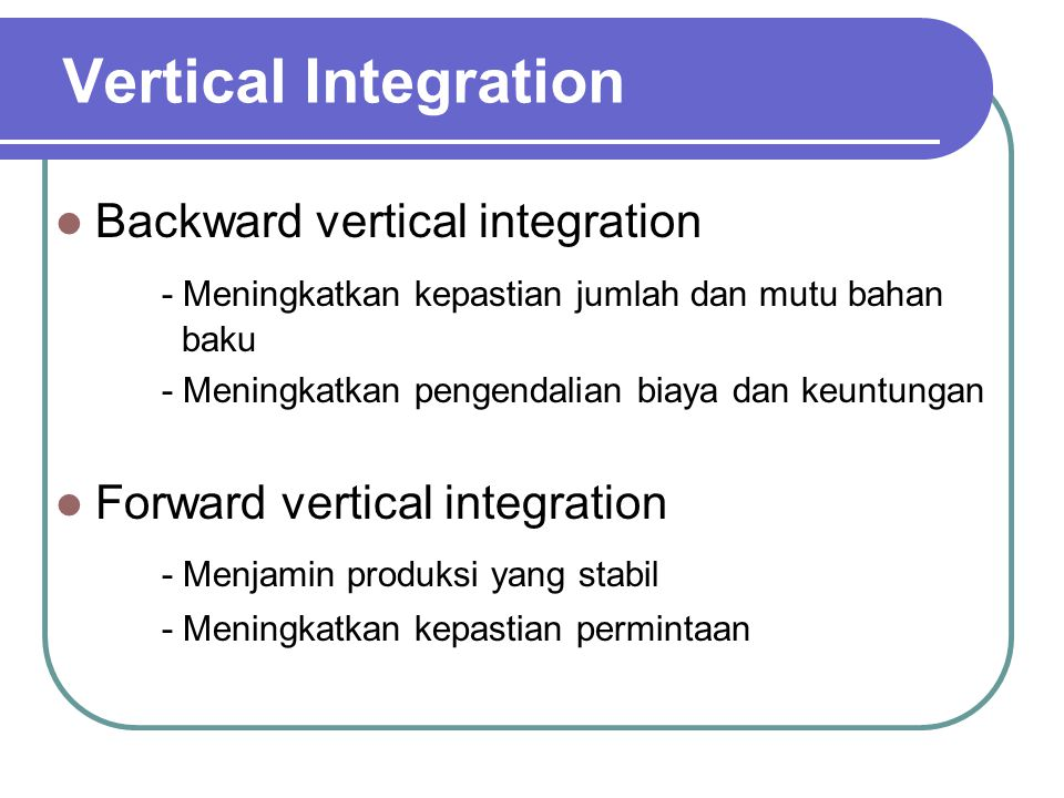 Vertical Integration Backward vertical integration