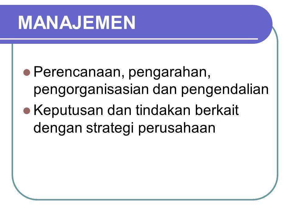 MANAJEMEN Perencanaan, pengarahan, pengorganisasian dan pengendalian