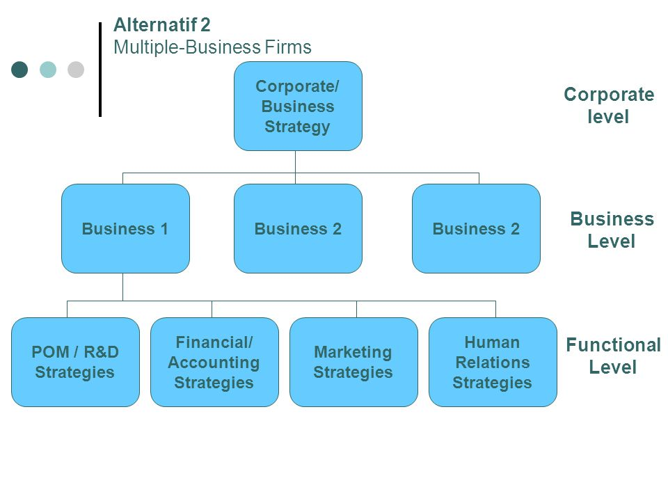 Corporate level Business Level Functional Level