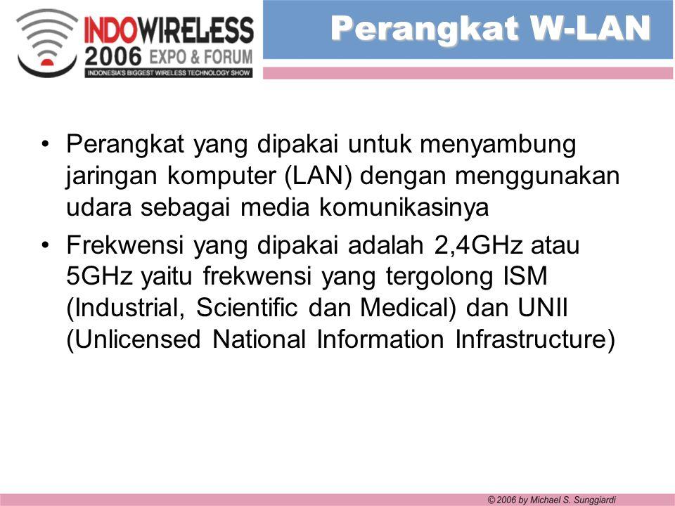 Perangkat W-LAN Perangkat yang dipakai untuk menyambung jaringan komputer (LAN) dengan menggunakan udara sebagai media komunikasinya.