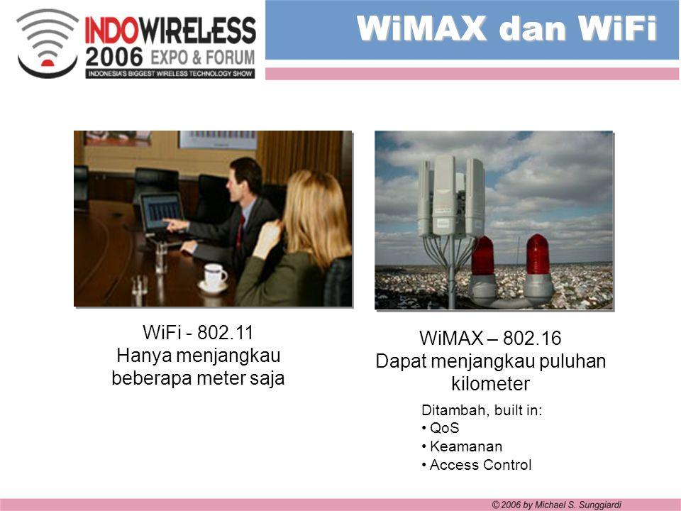WiMAX dan WiFi WiFi - 802.11. Hanya menjangkau beberapa meter saja. WiMAX – 802.16 Dapat menjangkau puluhan kilometer.