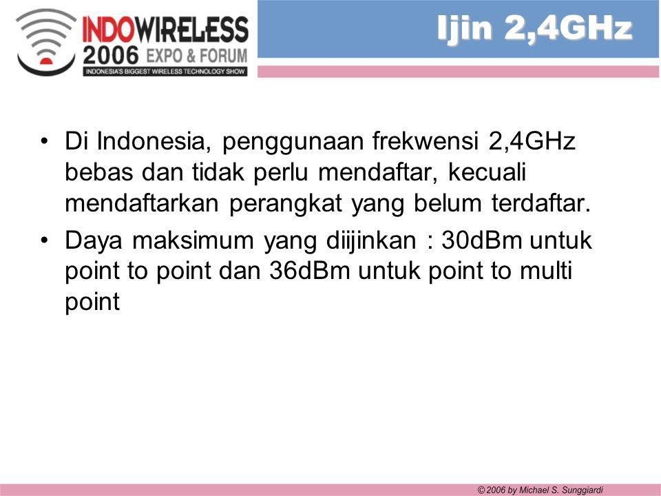 Ijin 2,4GHz Di Indonesia, penggunaan frekwensi 2,4GHz bebas dan tidak perlu mendaftar, kecuali mendaftarkan perangkat yang belum terdaftar.