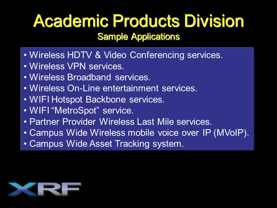 Academic Products Division Sample Applications