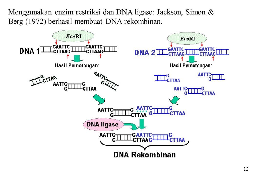 Menggunakan enzim restriksi dan DNA ligase: Jackson, Simon &