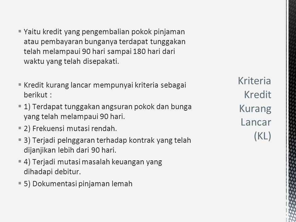 Kriteria Kredit Kurang Lancar (KL)