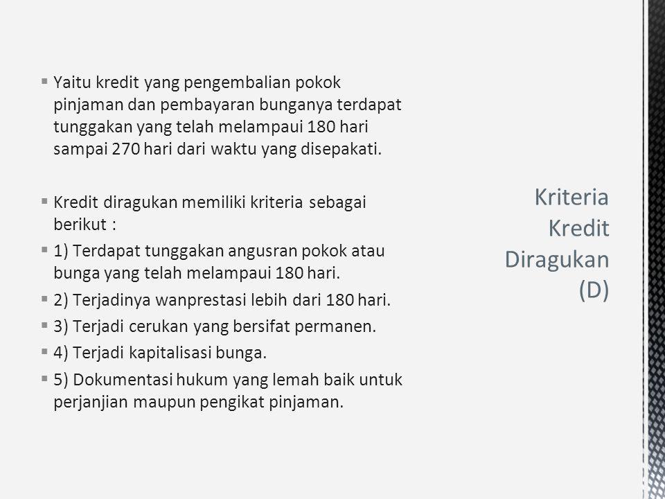 Kriteria Kredit Diragukan (D)
