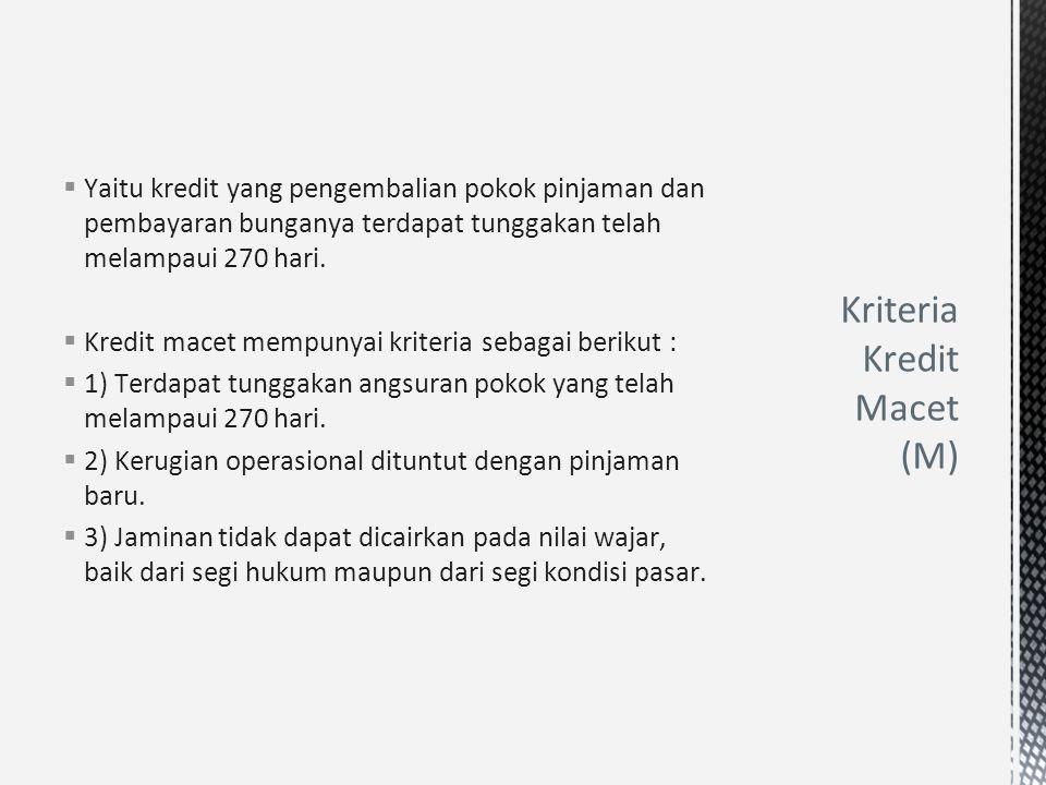 Kriteria Kredit Macet (M)