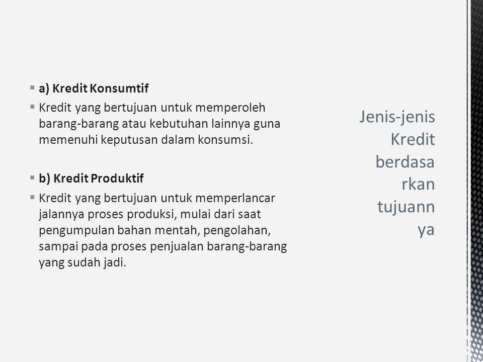 Jenis-jenis Kredit berdasarkan tujuannya