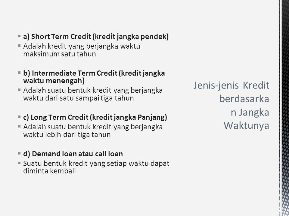 Jenis-jenis Kredit berdasarkan Jangka Waktunya