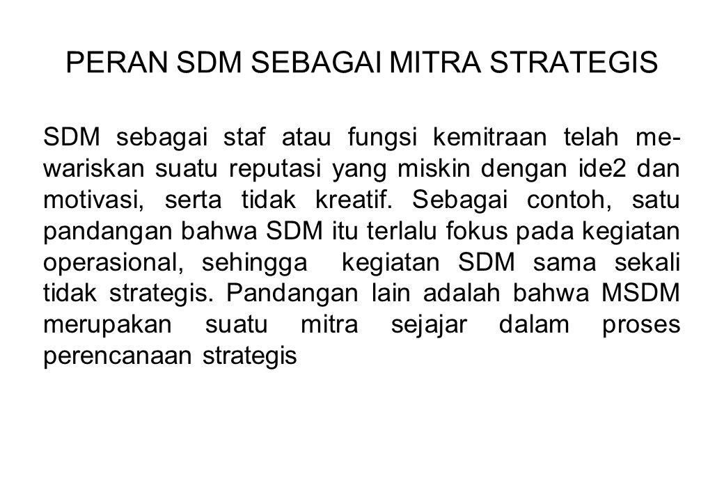 PERAN SDM SEBAGAI MITRA STRATEGIS