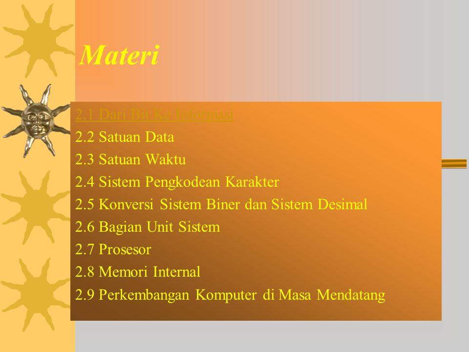 Materi 2.1 Dari Bit Ke Informasi 2.2 Satuan Data 2.3 Satuan Waktu