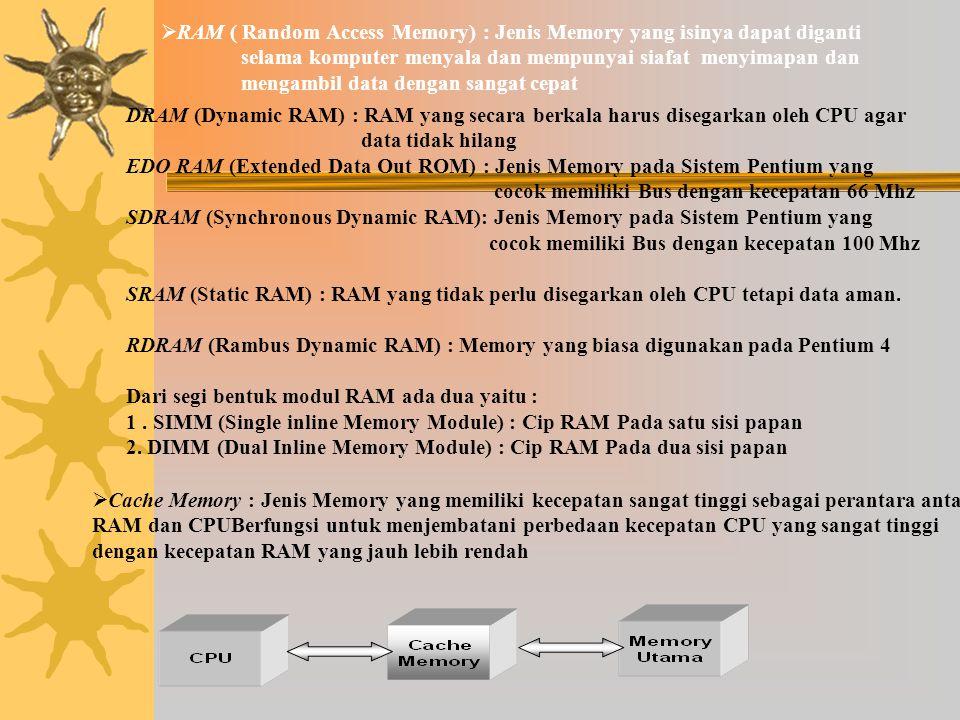RAM ( Random Access Memory) : Jenis Memory yang isinya dapat diganti selama komputer menyala dan mempunyai siafat menyimapan dan mengambil data dengan sangat cepat