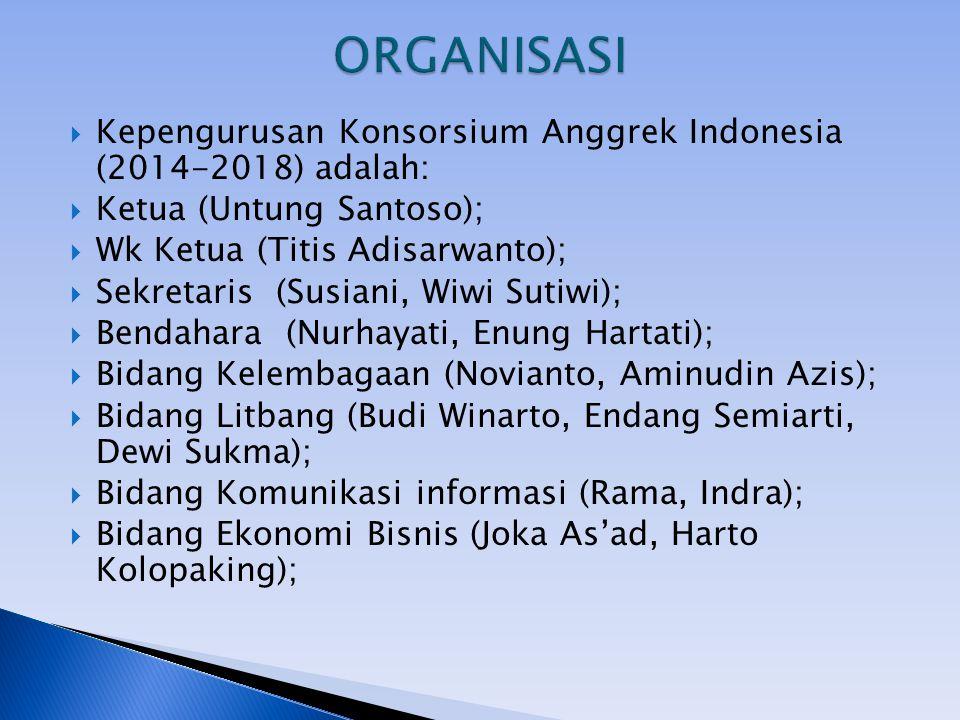 ORGANISASI Kepengurusan Konsorsium Anggrek Indonesia (2014-2018) adalah: Ketua (Untung Santoso); Wk Ketua (Titis Adisarwanto);