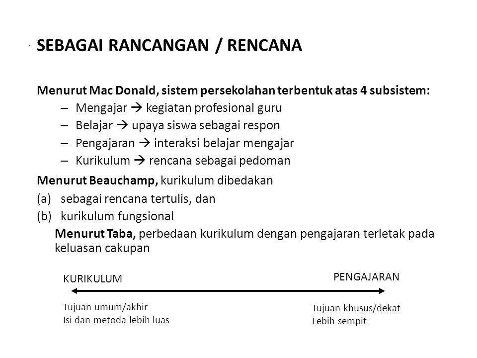 SEBAGAI RANCANGAN / RENCANA