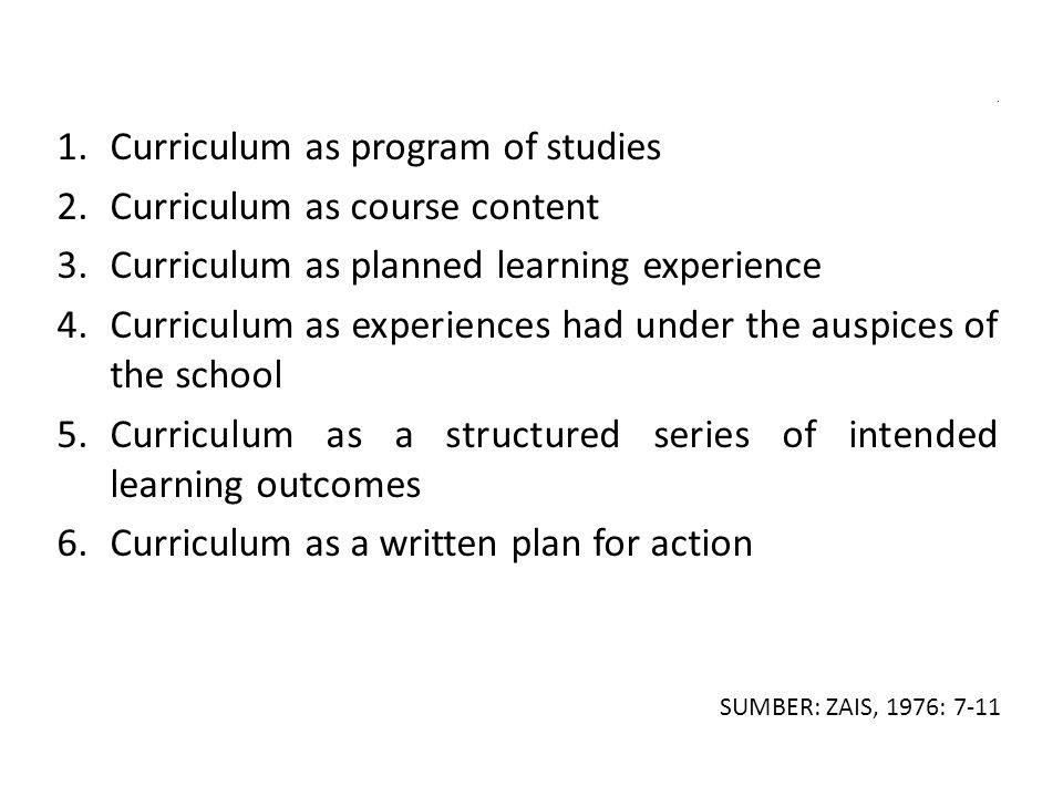 Curriculum as program of studies Curriculum as course content