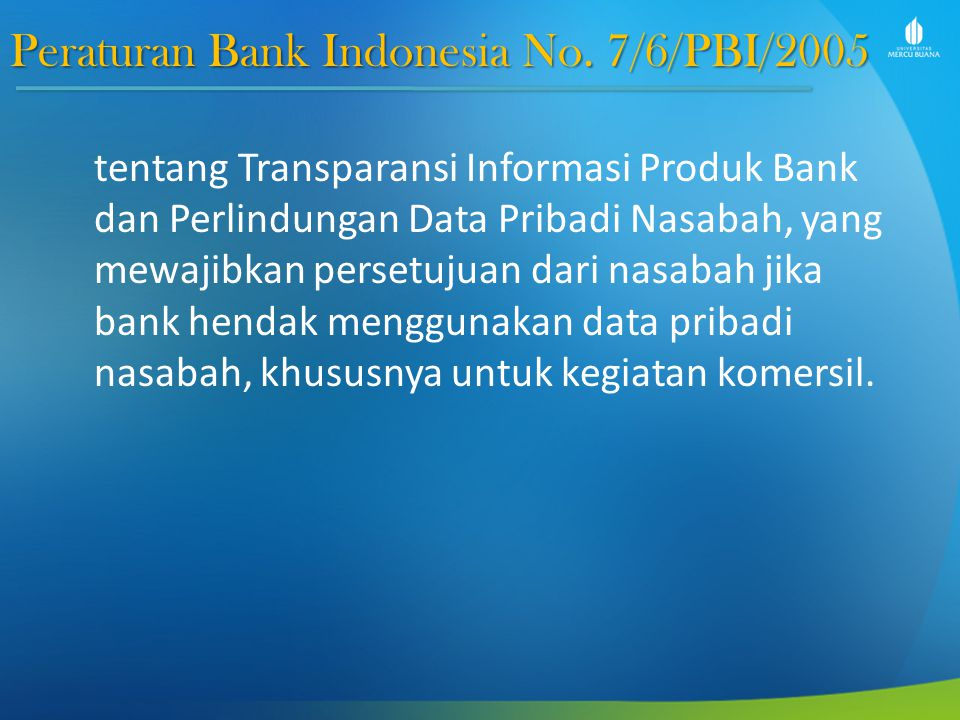 Peraturan Bank Indonesia No. 7/6/PBI/2005