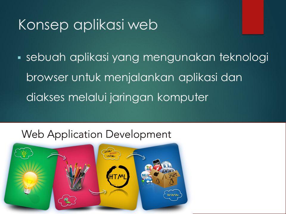 Konsep aplikasi web sebuah aplikasi yang mengunakan teknologi browser untuk menjalankan aplikasi dan diakses melalui jaringan komputer.