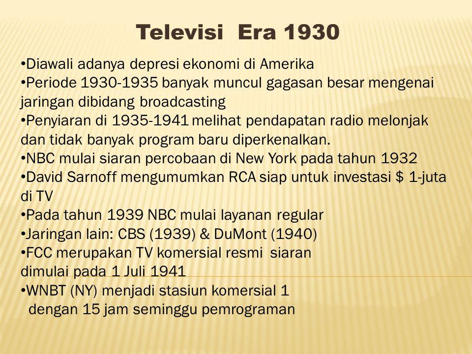 Televisi Era 1930 Diawali adanya depresi ekonomi di Amerika