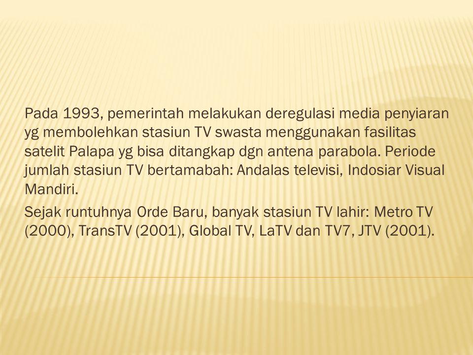 Pada 1993, pemerintah melakukan deregulasi media penyiaran yg membolehkan stasiun TV swasta menggunakan fasilitas satelit Palapa yg bisa ditangkap dgn antena parabola. Periode jumlah stasiun TV bertamabah: Andalas televisi, Indosiar Visual Mandiri.