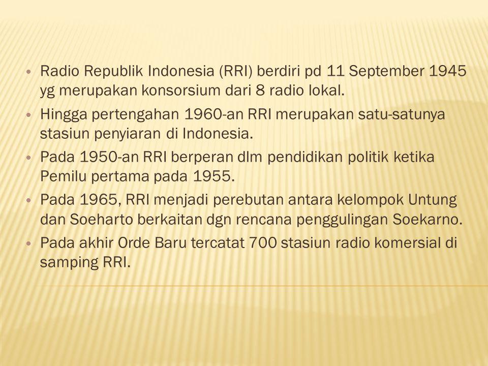 Radio Republik Indonesia (RRI) berdiri pd 11 September 1945 yg merupakan konsorsium dari 8 radio lokal.