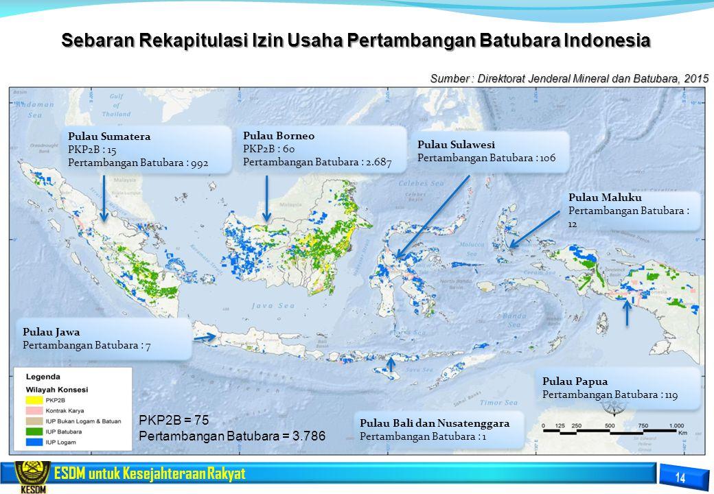 Sebaran Rekapitulasi Izin Usaha Pertambangan Batubara Indonesia