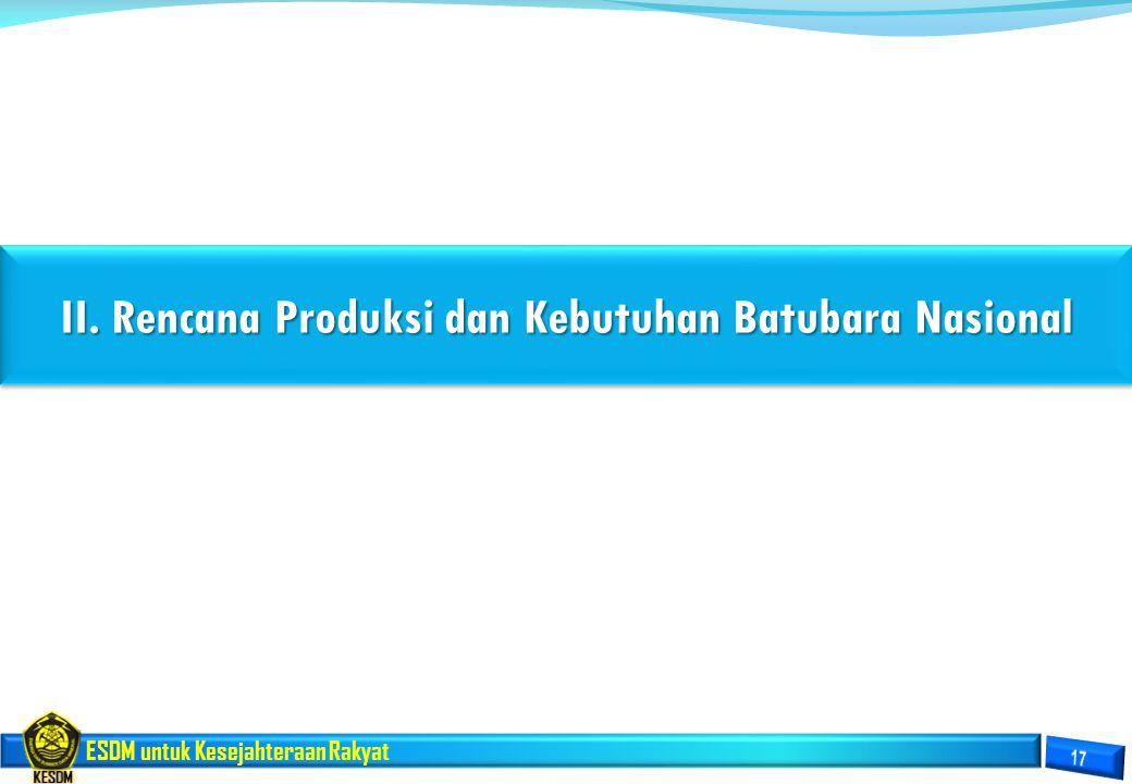 II. Rencana Produksi dan Kebutuhan Batubara Nasional